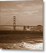 Golden Gate Bridge With Surf Sepia Metal Print
