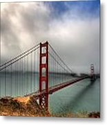 Golden Gate In The Clouds Metal Print by Peter Tellone
