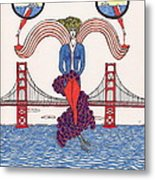 Golden Gate Lady And Wine Metal Print