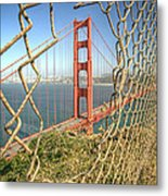 Golden Gate Through The Fence Metal Print