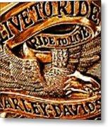 Golden Harley Davidson Logo Metal Print