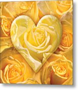 Golden Heart Of Roses Metal Print