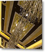 Golden Jewels And Gems - Sparkling Crystal Chandeliers  Metal Print