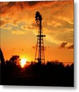 Golden Kansas Sunset With Windmill Metal Print