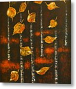Golden Leaves 1 Metal Print by Elena  Constantinescu