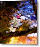 Golden Light Hummingbird Flight Metal Print