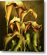 Golden Lilies By Night Metal Print
