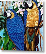 Golden Macaw Hand Embroidery Metal Print