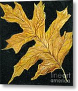 Golden Oak Leaf Metal Print