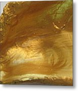 Golden Oyster Shell With Green Reflection Metal Print