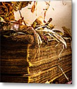 Golden Pages Falling Flowers Metal Print