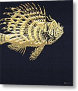 Golden Parrot Fish On Charcoal Black Metal Print