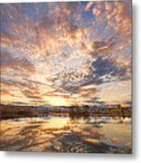 Golden Ponds Scenic Sunset Reflections 3 Metal Print
