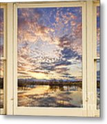Golden Ponds Scenic Sunset Reflections 4 Yellow Window View Metal Print