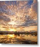 Golden Ponds Scenic Sunset Reflections 5 Metal Print