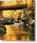 Golden Reflection Autumn Bridge Metal Print