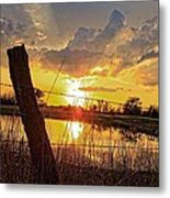 Golden Reflection With A Fence Metal Print by Robert D  Brozek