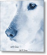 Golden Retriever Dog Let It Snow Holiday Card Metal Print