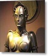 Golden Robot Lady Metal Print