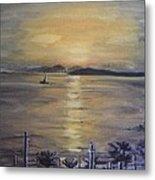 Golden Sea View Metal Print