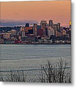 Golden Seattle Skyline Sunset Metal Print