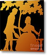 Golden Silhouette Garden Proposal Will You Marry Me Metal Print