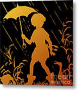 Golden Silhouette Of Child And Geese Walking In The Rain Metal Print