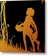 Golden Silhouette Of Child With Basket Walking In The Woods Metal Print