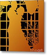 Golden Silhouette Of Couple Embracing Metal Print