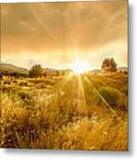 Golden Smoke Metal Print
