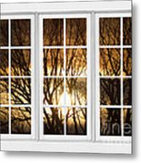 Golden Sun Silhouetted Tree Branches White Window View Metal Print