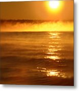 Golden Sunrise Over The Water Metal Print