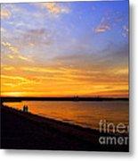 Golden Sunset On The Harbor Metal Print