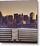 Golden Sunset Over Boston Metal Print
