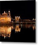 Golden Temple Reflected In Water Metal Print