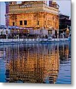 Golden Temple With Reflection Metal Print