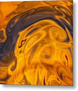 Golden Waves Of Blue Metal Print