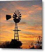 Golden Windmill Silhouette Metal Print