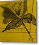 Golden Wood Flower Metal Print