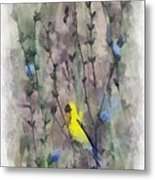 Goldfinch In Wildflowers Metal Print