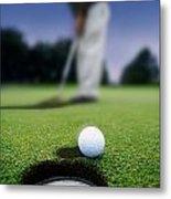 Golf Ball Near Cup Metal Print