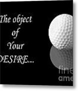 Golf Ball On Black Metal Print
