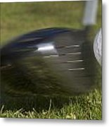 Golf Ball On Tee Hit By Driver Metal Print