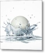 Golf Ball Splashing Into Water Metal Print
