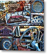 Golf Cart Collage Metal Print