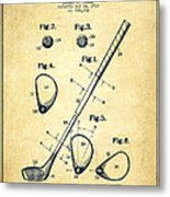 Golf Club Patent Drawing From 1910 - Vintage Metal Print