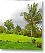 Golf Course Under Cloudy Skies Metal Print