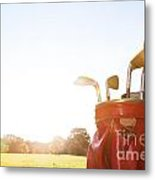 Golf Equipment Professional Clubs On Golf Course Metal Print