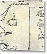 Golf Patent History Drawing Metal Print