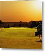 Golfer Walking On A Golf Course Metal Print